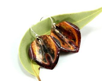 Petal Earrings, Sterling Silver Earrings, Fold Formed Copper Earrings, Bohemian Earrings, Hammered Copper, Silver Jewelry, Flower Earrings