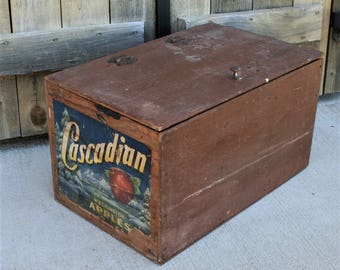 Vintage Repurposed Apple Crate, Cupboard With Shelves Made From Vintage Apple Crate