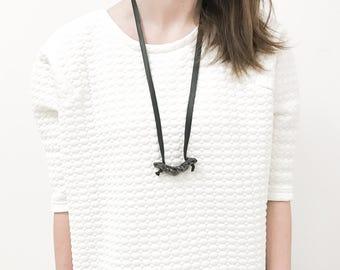 porcelain necklace,jewelery,black porcelain,leather,black leather,long necklace,ceramic necklace, unique, simple necklace, porcelain pendant