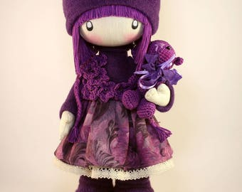 Rag doll Zooey MADE TO ORDER Cute Cloth doll Fabric doll gift for birthday handmade doll purple hair ragdoll gift ideas for her for child