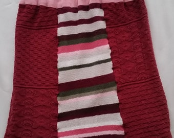 Refashioned Sweater Skirt * Upcycled Fashion * Reds & Pinks Striped Skirt