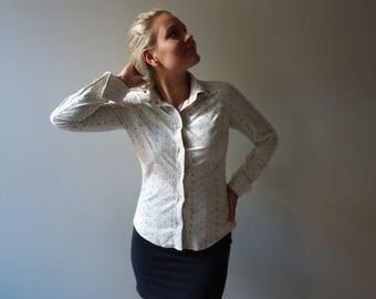 Ivory Beige Blouse Sand Beige Long Sleeves Blouse Cut Out Blouse Embroidered Blouse Top Embroidered Shirt Secretary Medium Size