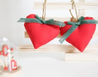 Red Fabric Hearts with a Green Bow - Set of 2 - Valentine day Ornaments - Red Cotton Fabric Hearts - Holiday Ornaments - Valentine hearts