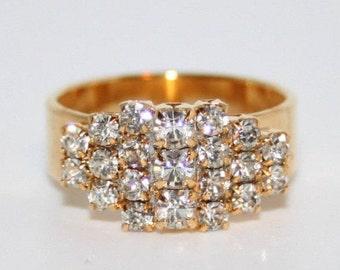 Brilliant Rhinestone Diamante Ring Gold Plated Czechoslovakia 1960s
