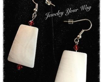 Shell Earring, Red Crystal Earrings, Under Fifteen Dollers, Dangle Earrings, Ladies All Occasion Gift Idea, Sophisticated Ladies Earrings.