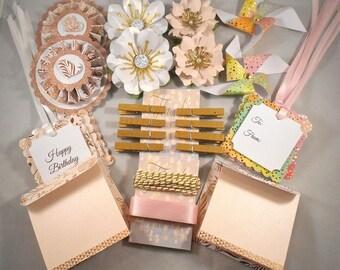 Birthday Gift Kit // Gift Wrap Kit // Rose Gold and Pink // Gift Package Kit // Gift Embellishments // Paper Packaging Kit