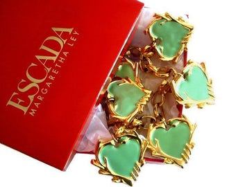 ESCADA ~ Authentic Vintage Gorgeous Hearts Charms Necklace/Choker - Margaretha Ley