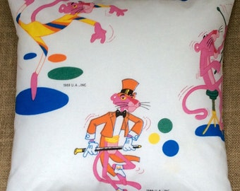 Novelty Pink Panther Fabric Cushion Complete With Interior 40cmx40cm