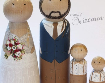 Custom Painted Peg Doll Wedding Cake Toppers, Engagement Gift, Couple, Wooden Peg Dolls, Wedding Gift, Anniversary Gift, Custom Portrait
