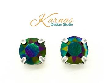 CRYSTAL RAINBOW DARK 8mm Crystal Chaton Stud Earrings Swarovski Elements *Pick Your Finish *Karnas Design Studio *Free Shipping*