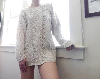 90's sweater oversized crocheted vintage, women medium made in the usa, white cream tan beige