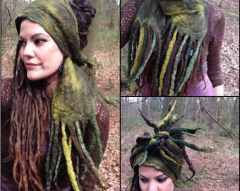 The 'Wildermoss' Dread Wrap, Hair Wrap, Dread Turban, Woodland Fae, Fairytale Headpiece, Wood Nymph, Elven Headscarf with Twinkles