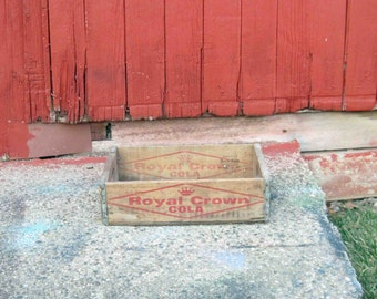 Vintage Royal Crown Cola Wood Crate, Marked On Ends Vernors RC Detroit,Soda,Distressed,Storage Crate