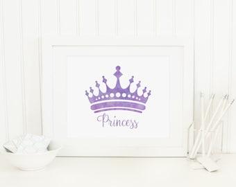 Princess Crown Printable Princess Crown Wall Decor Princess Wall Art Lavender Crown Prints Baby Girl Nursery Decor Girl Playroom Decor