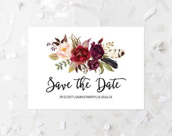 Bohemian Save The Date Printable Burgundy Floral Save The Date Modern Save The Date Boho Wedding Save The Date Wine Floral Bouquet Pink  243