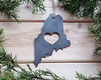 Maine State Christmas Ornament Rustic Raw Steel Personalize Engrave Love ME Metal Holiday Decoration Stocking Stuffer House Warming Gift