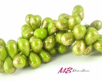 25 pcs Green and Gold Teardrop Beads, 9x6mm Czech Glass Beads