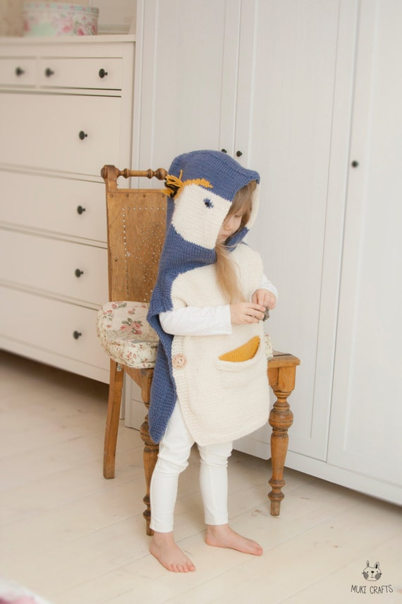 KNITTING PATTERN penguin poncho with a hood and pocket Lolo (toddler and child sizes)