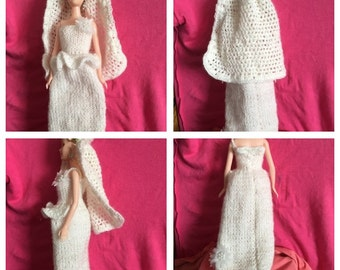 Hand Knitted/Crocheted Barbie Wedding Dress and Veil