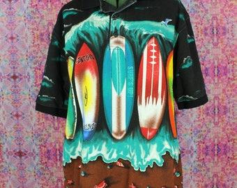 Surf Print Vintage Polo Shirt