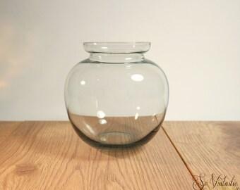 Signed Dutch Andries Copier art glass vase for Leerdam Glassworks, 30s modernist round glass vase in dark grey gray,Studio glass Netherlands