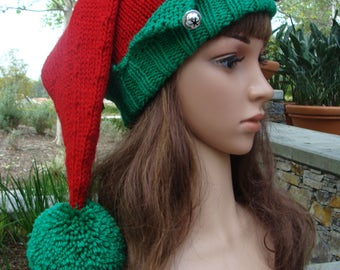 """Santa's Elf Knit Hat with Pom-pom, Elf hat, Elf knit hat, Santa's Elf, Size: Teen to Adult (or) Head Circumference 21""""- 23"""""""