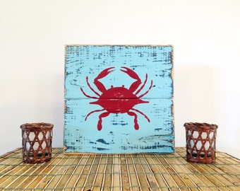 Hand painted wooden crab sign made on pallet wood, light blue with red crab