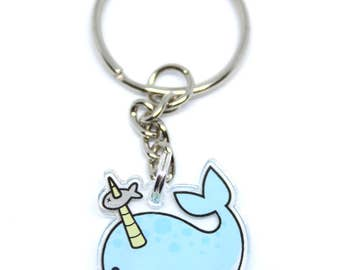 1 Inch Clear Acrylic Narwhal Keychain / Cell Phone Charm