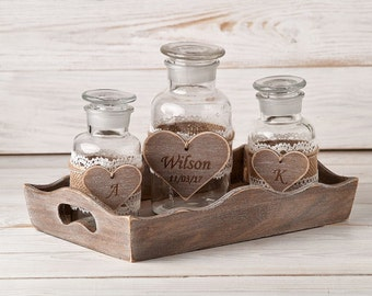 Wedding Sand Ceremony Set Family Unity Set Sand Ceremony Vases Personalized Unity Jars Engraved Sand Ceremony Set Rustic Mason Jars