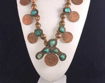 Handmade Rustic Squash Blossom Necklace Made from Copper Coins and Blue Turquoise with Large Turquoise Cabochons Made by James Robins