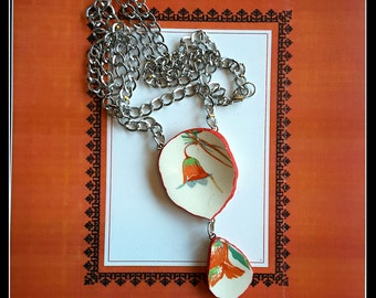 Handmade OOAK  broken china red tulip statement necklace