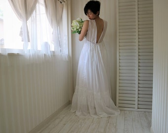 simple wedding dress open back,cotton wedding dress,white maxi dress,casual wedding dress,beach wedding dress,sleeveless dress