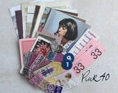 Pink, lilac and blue hues 40: vintage ephemera pack of pink themed pieces; map, tickets, stamps, game and other pieces. For art or collage.