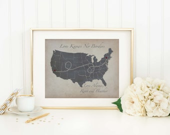 Personalized Long Distance Map - Long Distance Map Gift - Relationship Gift - Grandparent Gift - Family Gift - Sister - Brother - Friendship
