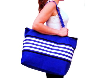 Extra large tote bag - zippered top, interior pockets, custom design available