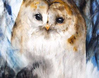Summer Sale-Owl Original Watercolor Painting 9.5x13in