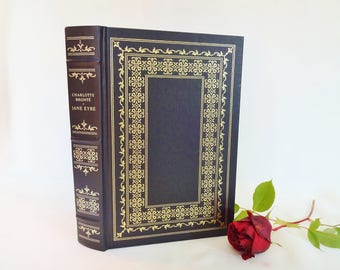 Jane Eyre by Charlotte Bronte / 1st Edition The Franklin Library 1981 / Striking Black and Gold Boards / Illustrated / Very Good Condition