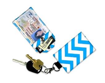 Blue Chevron Mini Wallet Card Holder Pink Keychain Clear ID Holder Small Wallet ID Wallet Minimalist Wallet Student ID Badge Credit Card