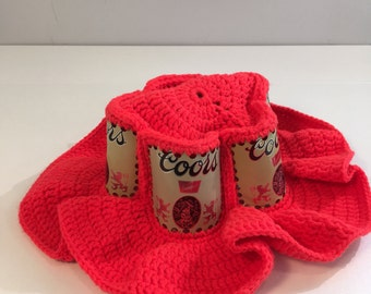 Beer Can Hat Coors 1980's Slouchy Orange Knitted Boho Handmade Hand knit Festival Hat