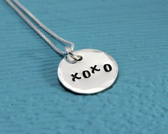 XO necklace, 925 Sterling Silver Love necklace, Hugs and Kisses, gift for wife, girlfriend
