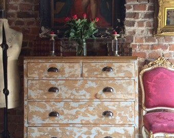 Fabulous Antique Pine Chest of Drawers Dresser Victorian Chippy Distressed Fab!