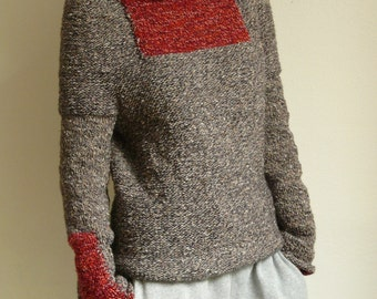 knit sweater, pullover,tweed,red,silver,brown