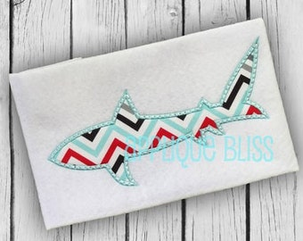 Shark Applique Design - Animals - Ocean - Beach - Sea - Monogram - Machine Embroidery