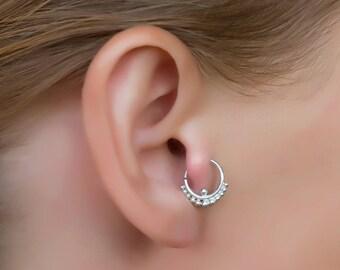 Sterling silver ear tragus. tragus hoop. daith ring. tiny hoop earring. tragus jewelry. tiny earrings. helix earring. cartilage earring.