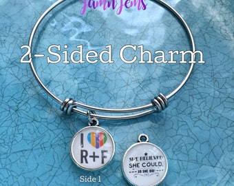 Rodan and Fields Charm Bracelet, Rodan Fields Gift, R and F Jewelry, Adjustable Bangle Bracelet, consultant Gifts, Birthday Gift for Her