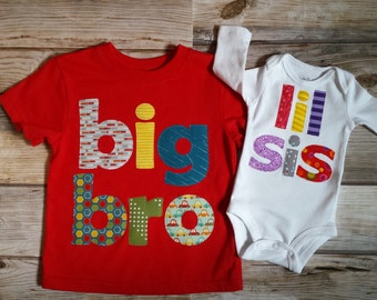 Big Bro Lil Sis Set-Red Big Bro Shirt-Sibling Shirts-Big Brother Little Sister Set-Big Brother Little Sister Outfit-New Baby Announcement