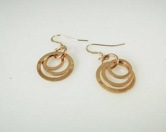 Triple Hoop Rose Gold Filled Earrings