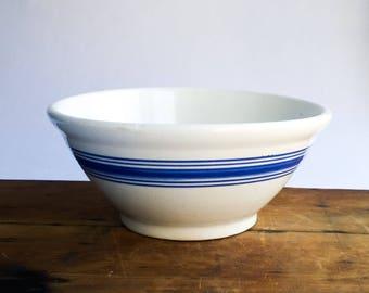 Large Vintage Blue & White Stoneware Mixing Bowl