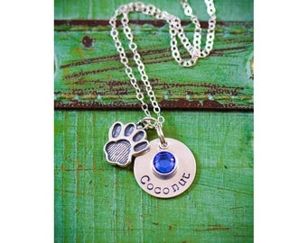 Pet Memorial Gift • Pet Loss Gift • Sterling Silver Pet Charm • Personalized Dog Paw • Pawprint • Pet Necklace • Pet Jewelry•Silver Pawprint