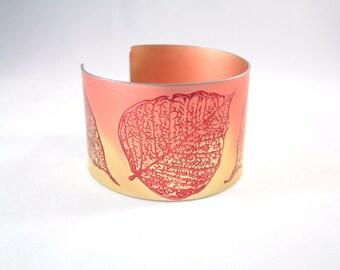 Leaf Cuff anodised aluminium bracelet colourful